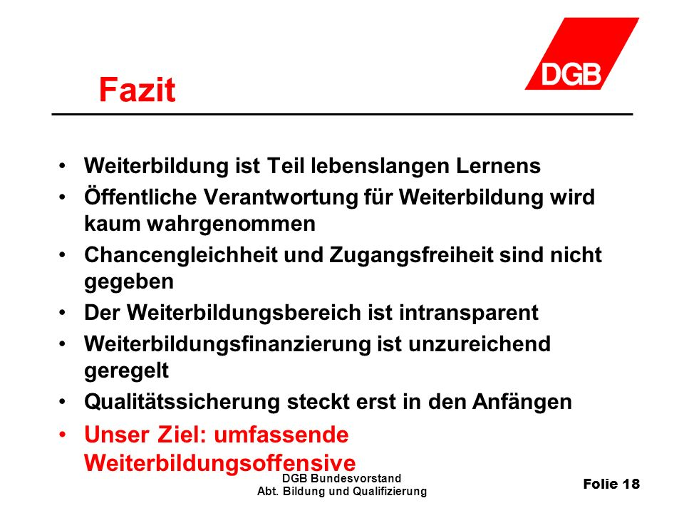 Folie 18 DGB Bundesvorstand Abt.