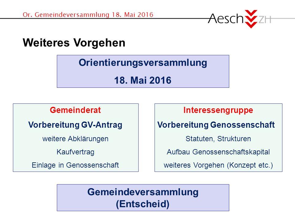 Or. Gemeindeversammlung 18. Mai 2016 Weiteres Vorgehen Orientierungsversammlung 18.