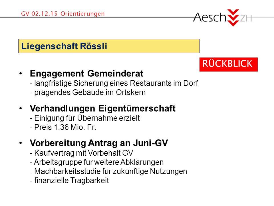GV 02.12.15 Orientierungen Engagement Gemeinderat - langfristige Sicherung eines Restaurants im Dorf - prägendes Gebäude im Ortskern Verhandlungen Eigentümerschaft - Einigung für Übernahme erzielt - Preis 1.36 Mio.