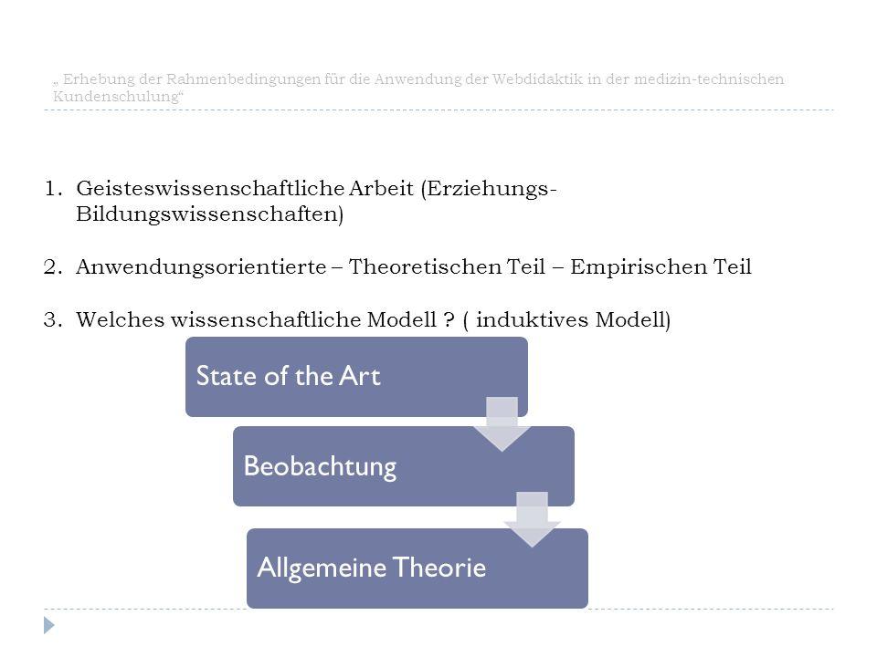 """"""" Erhebung der Rahmenbedingungen für die Anwendung der Webdidaktik in der medizin-technischen Kundenschulung"""" BeobachtungState of the ArtAllgemeine Th"""