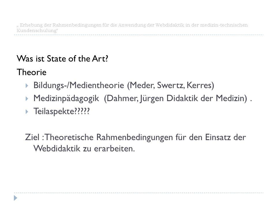 """"""" Erhebung der Rahmenbedingungen für die Anwendung der Webdidaktik in der medizin-technischen Kundenschulung"""" Was ist State of the Art? Theorie  Bild"""