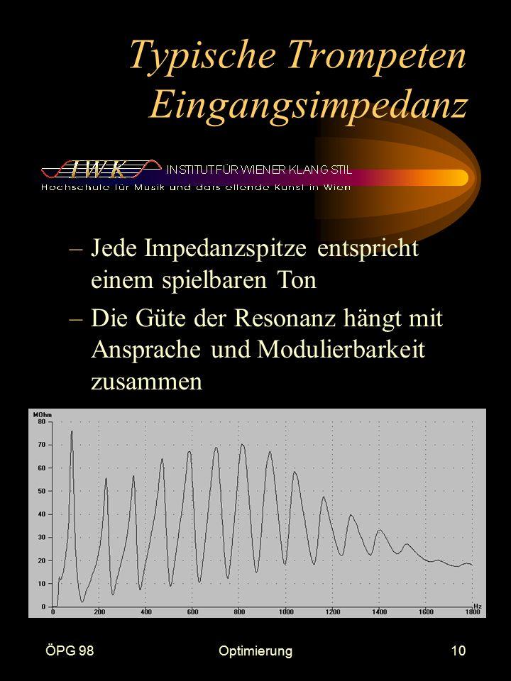 ÖPG 98Optimierung10 Typische Trompeten Eingangsimpedanz –Jede Impedanzspitze entspricht einem spielbaren Ton –Die Güte der Resonanz hängt mit Ansprach