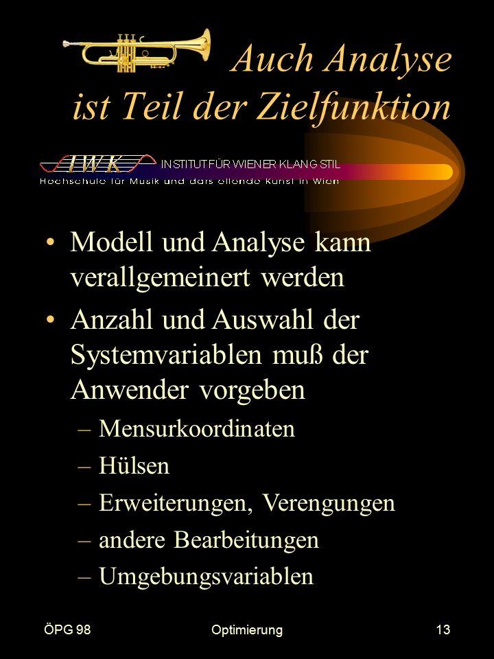 ÖPG 98Optimierung13 Auch Analyse ist Teil der Zielfunktion Modell und Analyse kann verallgemeinert werden Anzahl und Auswahl der Systemvariablen muß d
