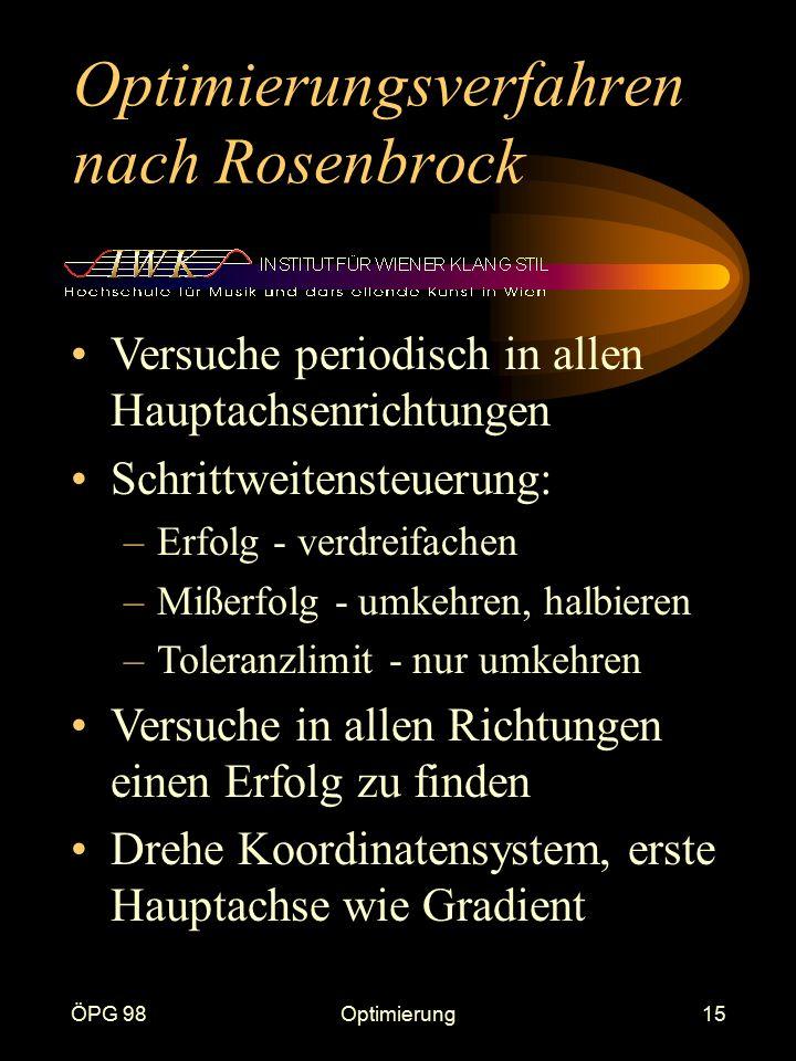 ÖPG 98Optimierung15 Optimierungsverfahren nach Rosenbrock Versuche periodisch in allen Hauptachsenrichtungen Schrittweitensteuerung: –Erfolg - verdrei