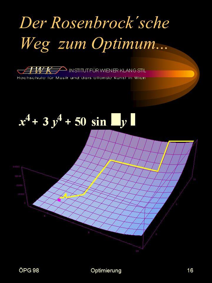 ÖPG 98Optimierung16 Der Rosenbrock´sche Weg zum Optimum...
