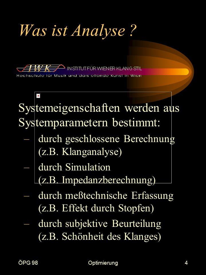 ÖPG 98Optimierung4 Was ist Analyse ? Systemeigenschaften werden aus Systemparametern bestimmt: –durch geschlossene Berechnung (z.B. Klanganalyse) –dur
