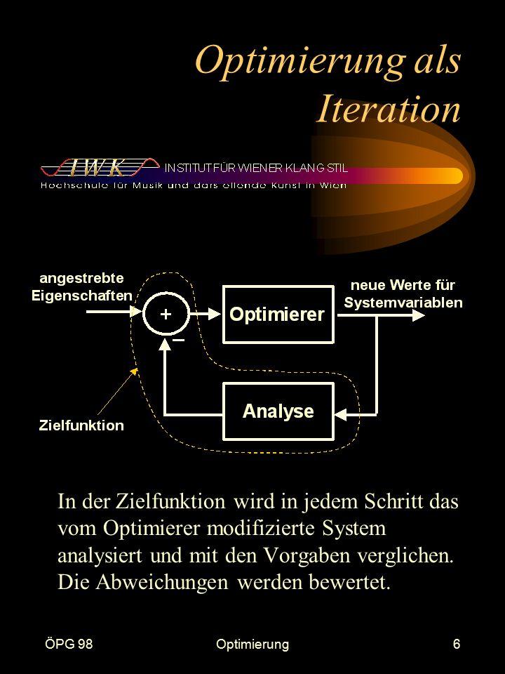 ÖPG 98Optimierung6 Optimierung als Iteration In der Zielfunktion wird in jedem Schritt das vom Optimierer modifizierte System analysiert und mit den Vorgaben verglichen.