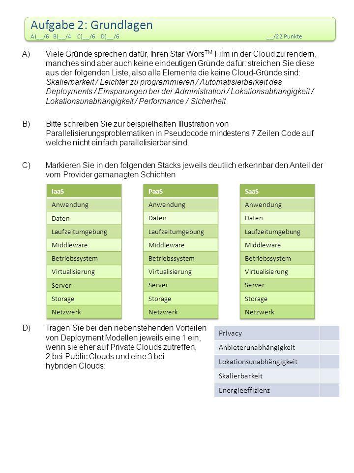 Aufgabe 2: Grundlagen A)__/6 B)__/4 C)__/6 D)__/6 __/22 Punkte Aufgabe 2: Grundlagen A)__/6 B)__/4 C)__/6 D)__/6 __/22 Punkte A)Viele Gründe sprechen dafür, Ihren Star Wors TM Film in der Cloud zu rendern, manches sind aber auch keine eindeutigen Gründe dafür: streichen Sie diese aus der folgenden Liste, also alle Elemente die keine Cloud-Gründe sind: Skalierbarkeit / Leichter zu programmieren / Automatisierbarkeit des Deployments / Einsparungen bei der Administration / Lokationsabhängigkeit / Lokationsunabhängigkeit / Performance / Sicherheit B)Bitte schreiben Sie zur beispielhaften Illustration von Parallelisierungsproblematiken in Pseudocode mindestens 7 Zeilen Code auf welche nicht einfach parallelisierbar sind.