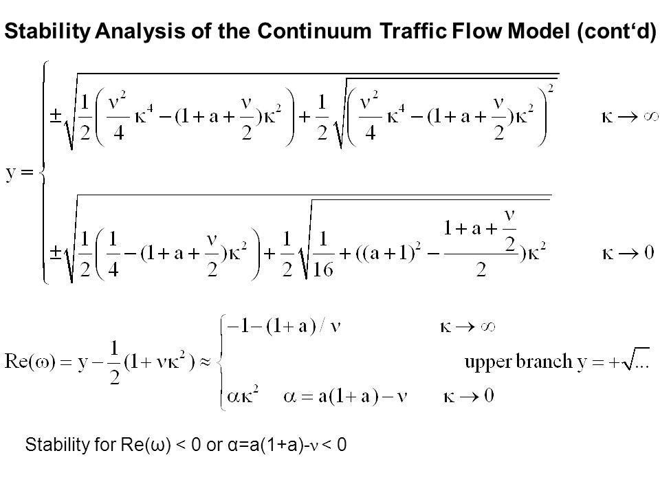 Stability Analysis of the Continuum Traffic Flow Model (cont'd) Stability for Re(ω) < 0 or α=a(1+a)- ν < 0