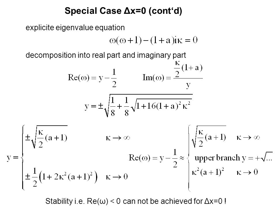 Special Case Δx=0 (cont'd) explicite eigenvalue equation decomposition into real part and imaginary part Stability i.e.