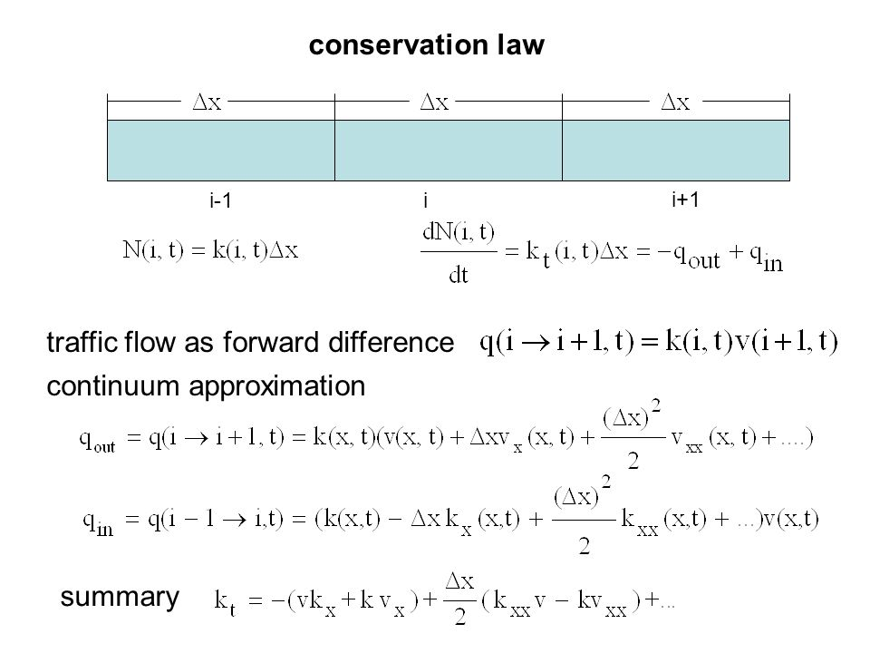 conservation law traffic flow as forward difference continuum approximation summary i-1i i+1