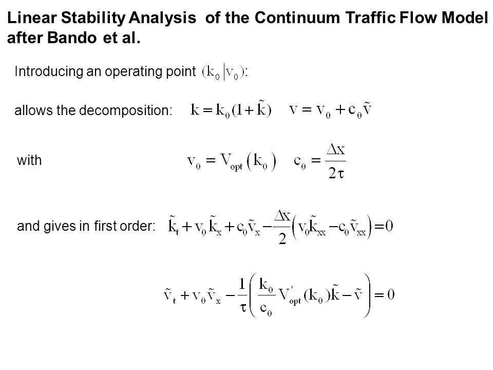 Linear Stability Analysis of the Continuum Traffic Flow Model after Bando et al.