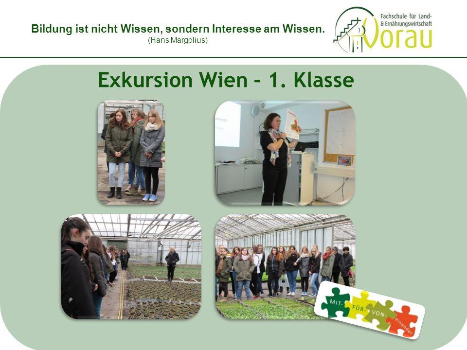 Bildung ist nicht Wissen, sondern Interesse am Wissen. (Hans Margolius) Exkursion Wien - 1. Klasse