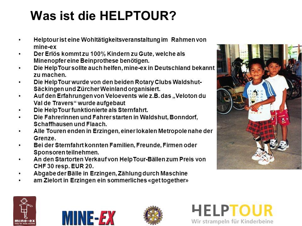 Helptour ist eine Wohltätigkeitsveranstaltung im Rahmen von mine-ex Der Erlös kommt zu 100% Kindern zu Gute, welche als Minenopfer eine Beinprothese benötigen.