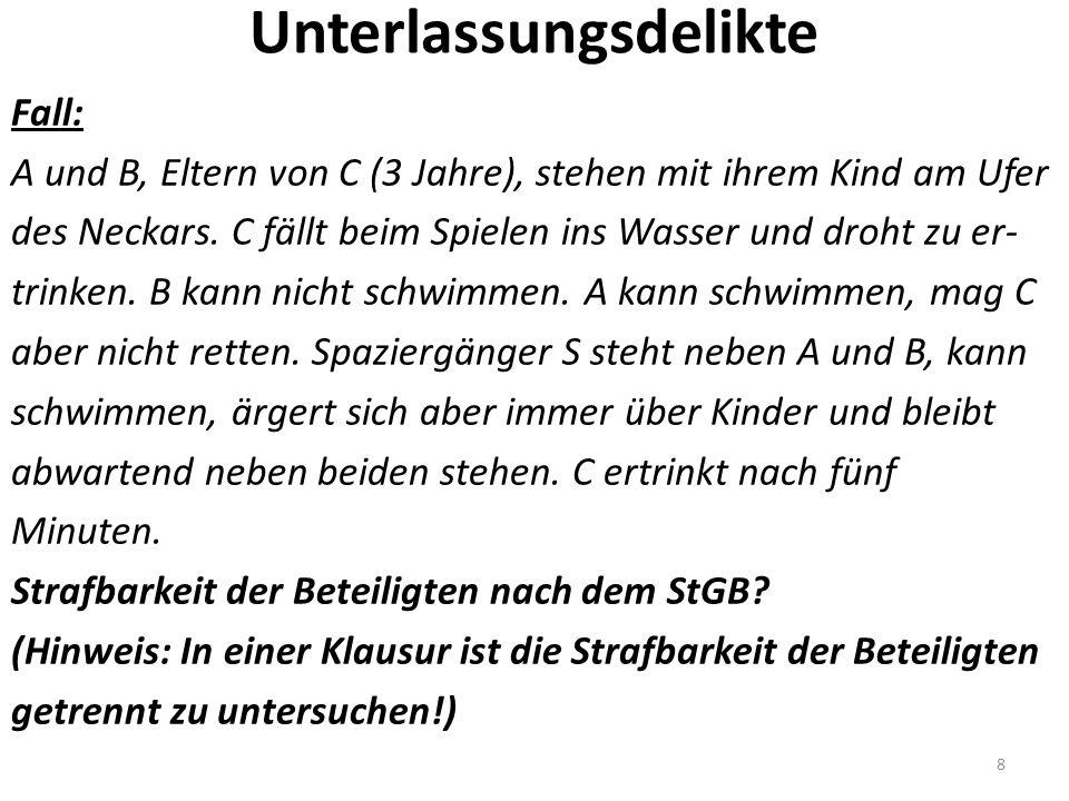 Unterlassungsdelikte Fall: A und B, Eltern von C (3 Jahre), stehen mit ihrem Kind am Ufer des Neckars.