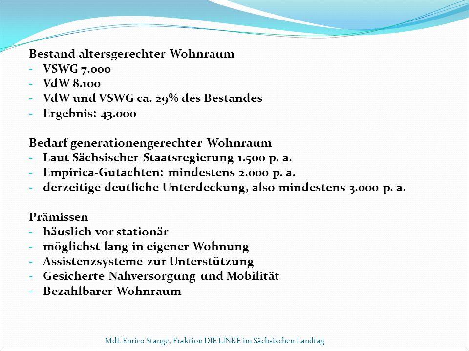 Bestand altersgerechter Wohnraum - VSWG 7.000 - VdW 8.100 - VdW und VSWG ca.