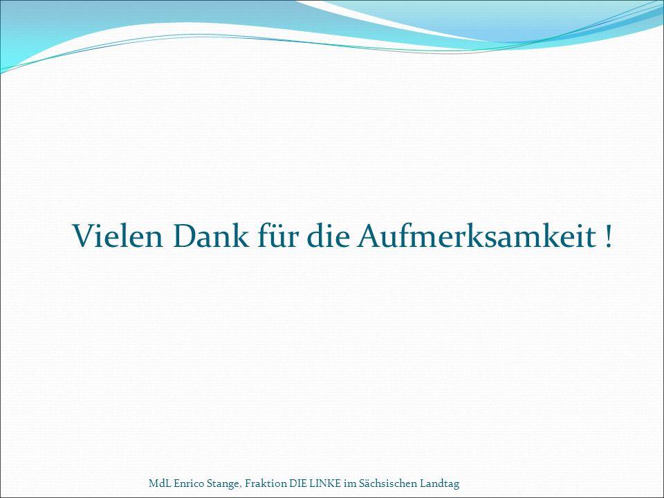 Vielen Dank für die Aufmerksamkeit ! MdL Enrico Stange, Fraktion DIE LINKE im Sächsischen Landtag