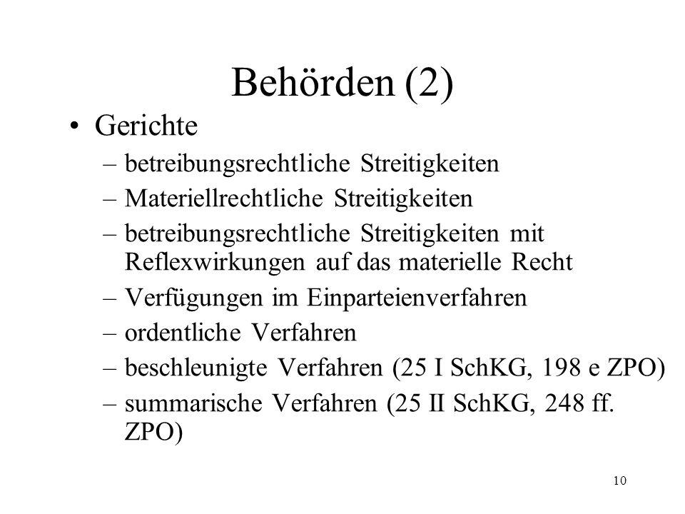9 6. Behörden (1) Betreibungsämter (2 II) Konkursämter (2 III) Aufsichtsbehörden (13) Bundesrat (15) Hilfsorgane atypische Organe