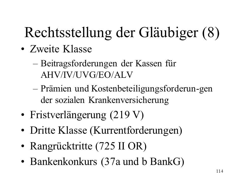 113 Rechtsstellung der Gläubiger (7) Rangordnung der ungesicherten Gläubiger (219 IV & V) –Revision 1994 (i.