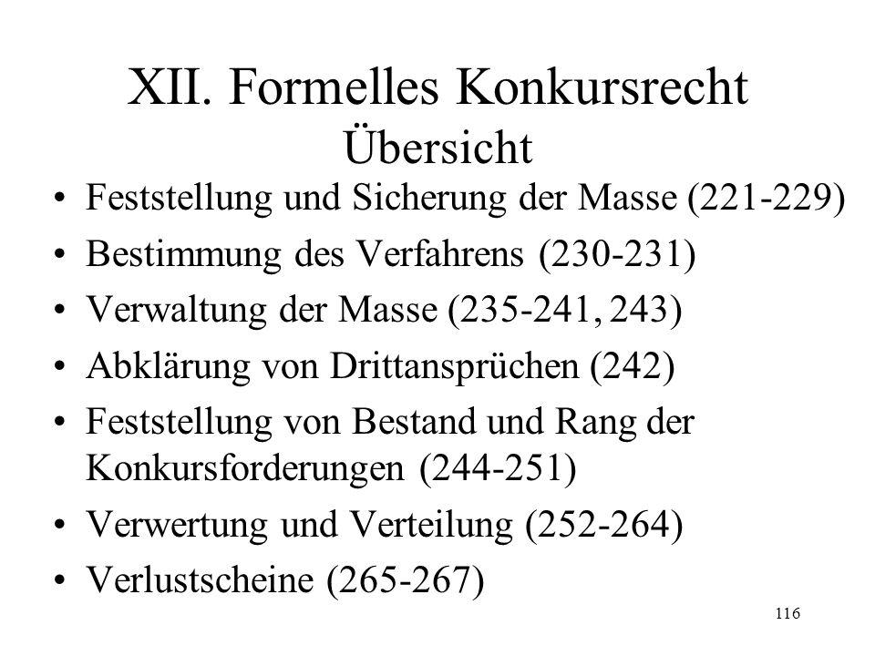 115 Fall 32 Wie sind diese Forderungen gegen den Schuldner in den Kollokationsplan aufzunehmen: –Noch nicht fällige Forderung aus einer Bürgschaft des Schuldners über Fr.