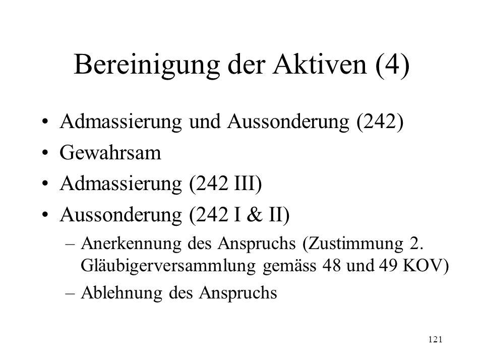 120 Bereinigung der Aktiven (3) Erste Gläubigerversammlung –Konstituierung (235 I & II) –Beschlussfähigkeit (235 III) –Befugnisse (237 II & III, 238) –Beschwerde (239) Konkursverwaltung (240) –Funktion –Befugnisse (240, 243)