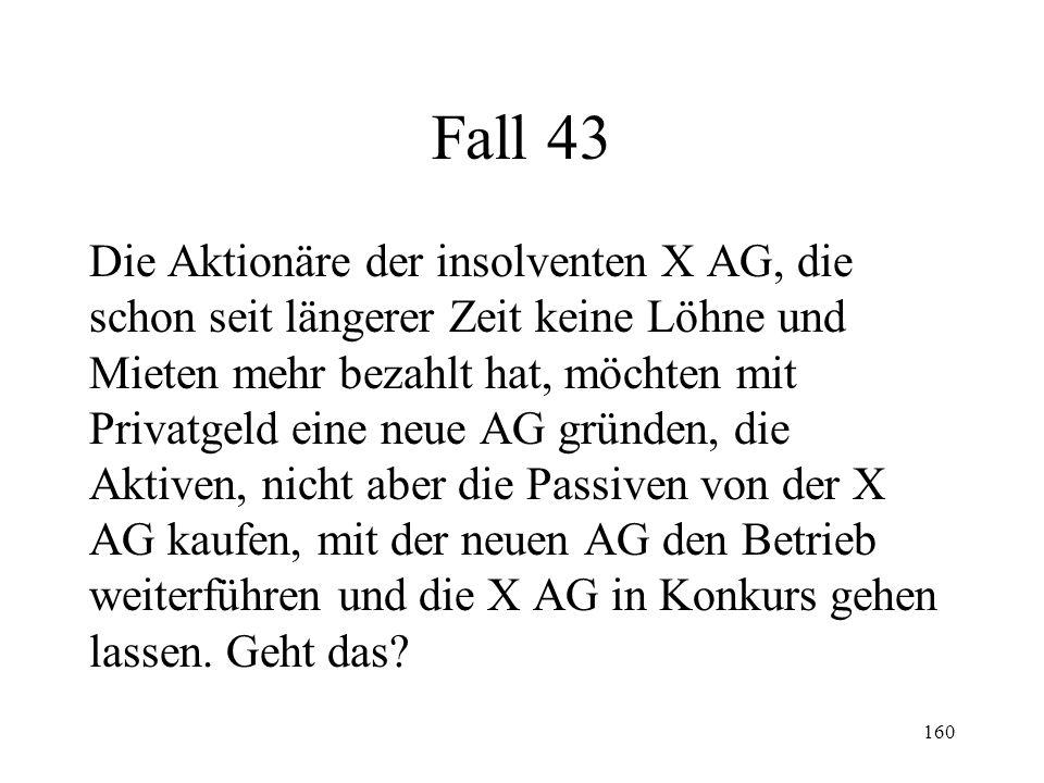 159 Fall 42 Vor vier Wochen wurde über X der Konkurs eröffnet.