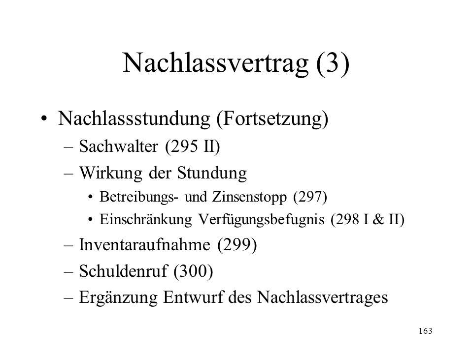 162 Nachlassvertrag (2) Nachlassstundung (293-331) –Übersicht –Gesuch (293) Legitimation Adresse Inhalt –Vorsorgliche Massnahmen (293 III) –Entscheid (294)