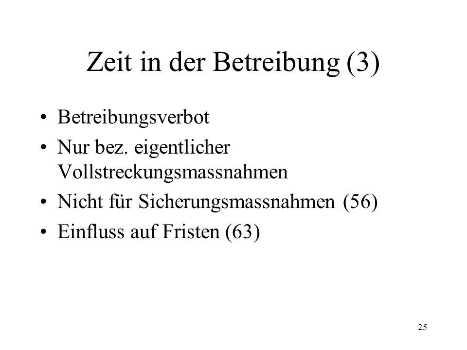 24 Zeit in der Betreibung (2) Wahrung der Fristen (32) Verlängerung der Fristen (33 II) Wiederherstellung der Fristen (33 IV) Schonzeiten –geschlossene Zeiten (56 Ziff.