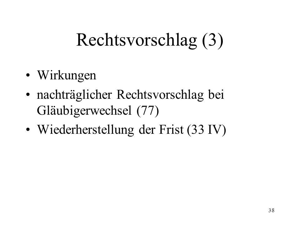 37 Rechtsvorschlag (2) Form Inhalt Frist Legitimation Entscheid des Betreibungsamtes Mitteilung an Gläubiger (76)