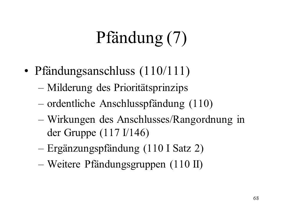 67 Pfändung (6) Reihenfolge der Pfändung (95 f.) Wirkung der Pfändung (96)