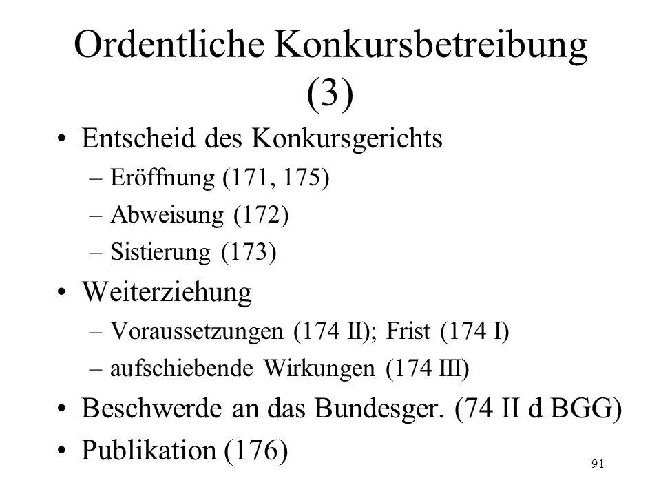 90 Ordentliche Konkursbetreibung (2) Güterverzeichnis –Voraussetzung und Anordnung (162) –Vollzug (163) –Wirkungen (164) –Dauer (165) Konkursbegehren (166-169) vorsorgliche Massnahmen (170)