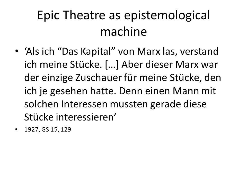 Epic Theatre as epistemological machine 'Als ich Das Kapital von Marx las, verstand ich meine Stücke.