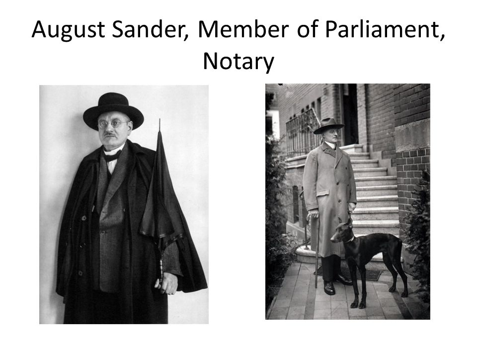 August Sander, Member of Parliament, Notary