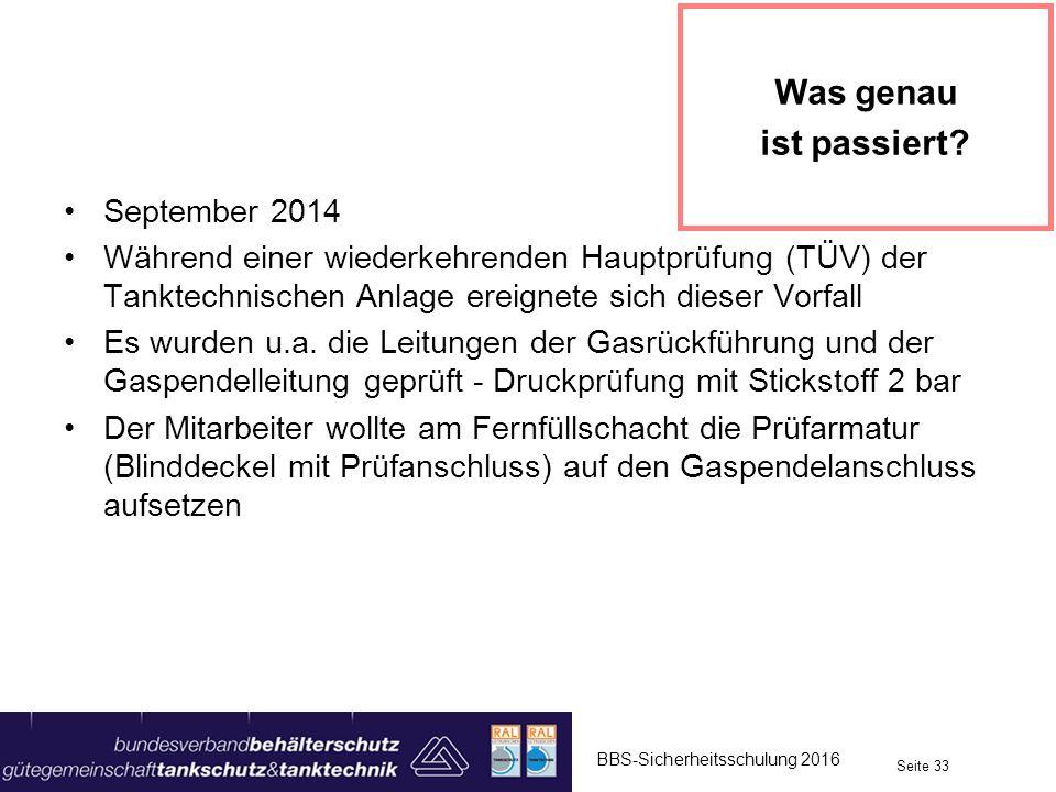 September 2014 Während einer wiederkehrenden Hauptprüfung (TÜV) der Tanktechnischen Anlage ereignete sich dieser Vorfall Es wurden u.a. die Leitungen