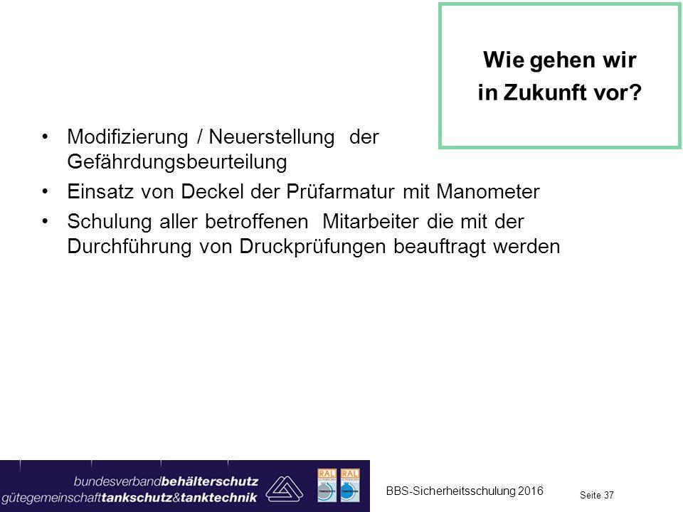 Modifizierung / Neuerstellung der Gefährdungsbeurteilung Einsatz von Deckel der Prüfarmatur mit Manometer Schulung aller betroffenen Mitarbeiter die m