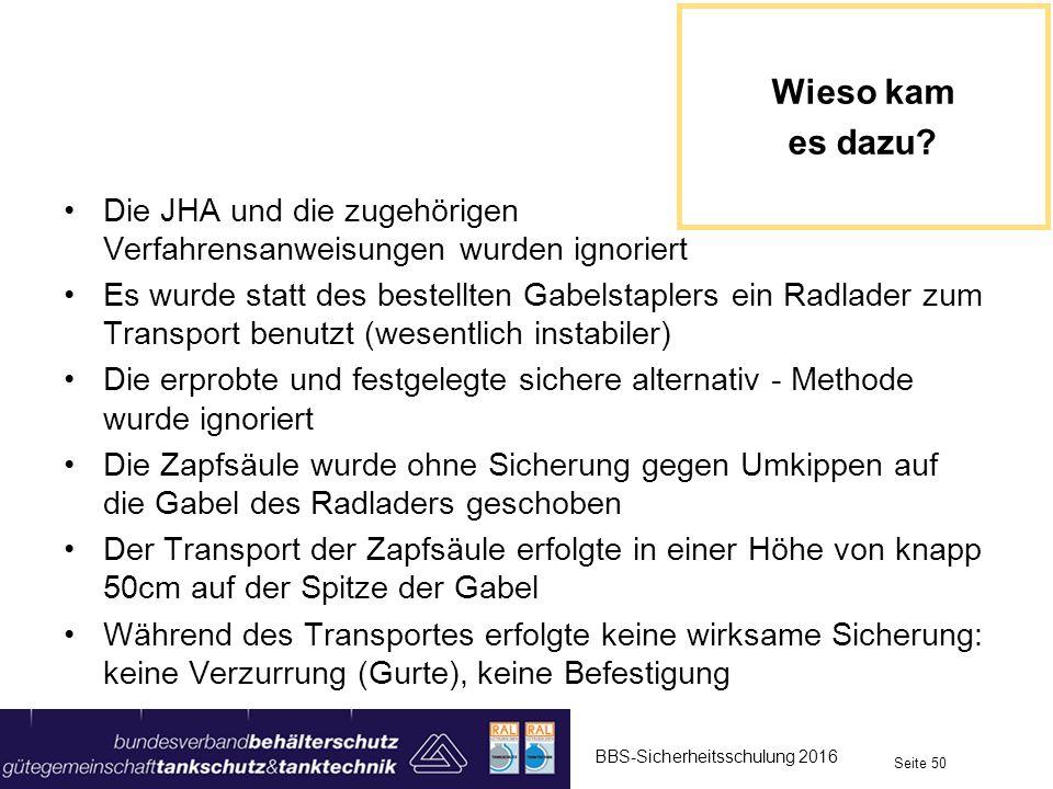 Die JHA und die zugehörigen Verfahrensanweisungen wurden ignoriert Es wurde statt des bestellten Gabelstaplers ein Radlader zum Transport benutzt (wes
