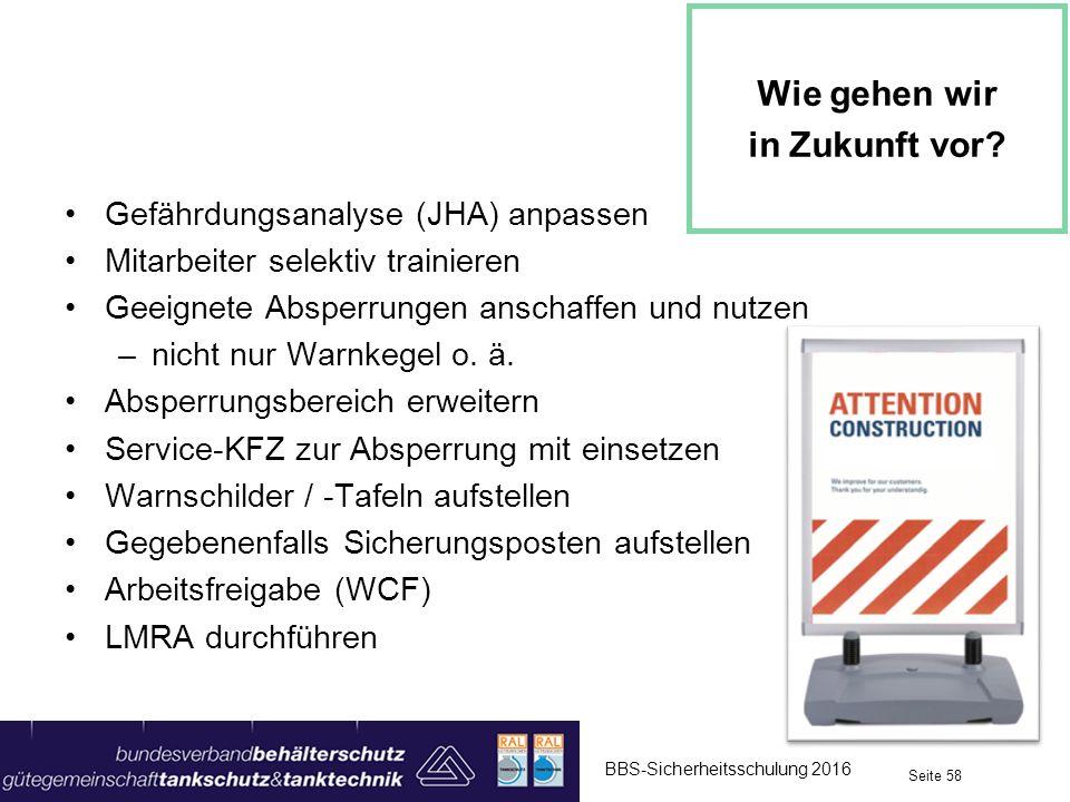 Gefährdungsanalyse (JHA) anpassen Mitarbeiter selektiv trainieren Geeignete Absperrungen anschaffen und nutzen –nicht nur Warnkegel o. ä. Absperrungsb