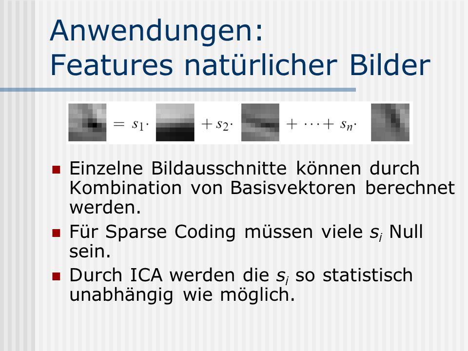 Anwendungen: Features natürlicher Bilder Einzelne Bildausschnitte können durch Kombination von Basisvektoren berechnet werden. Für Sparse Coding müsse