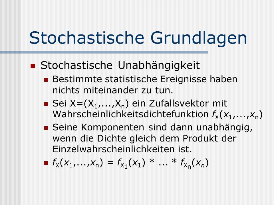 Stochastische Grundlagen Stochastische Unabhängigkeit Bestimmte statistische Ereignisse haben nichts miteinander zu tun. Sei X=(X 1,...,X n ) ein Zufa