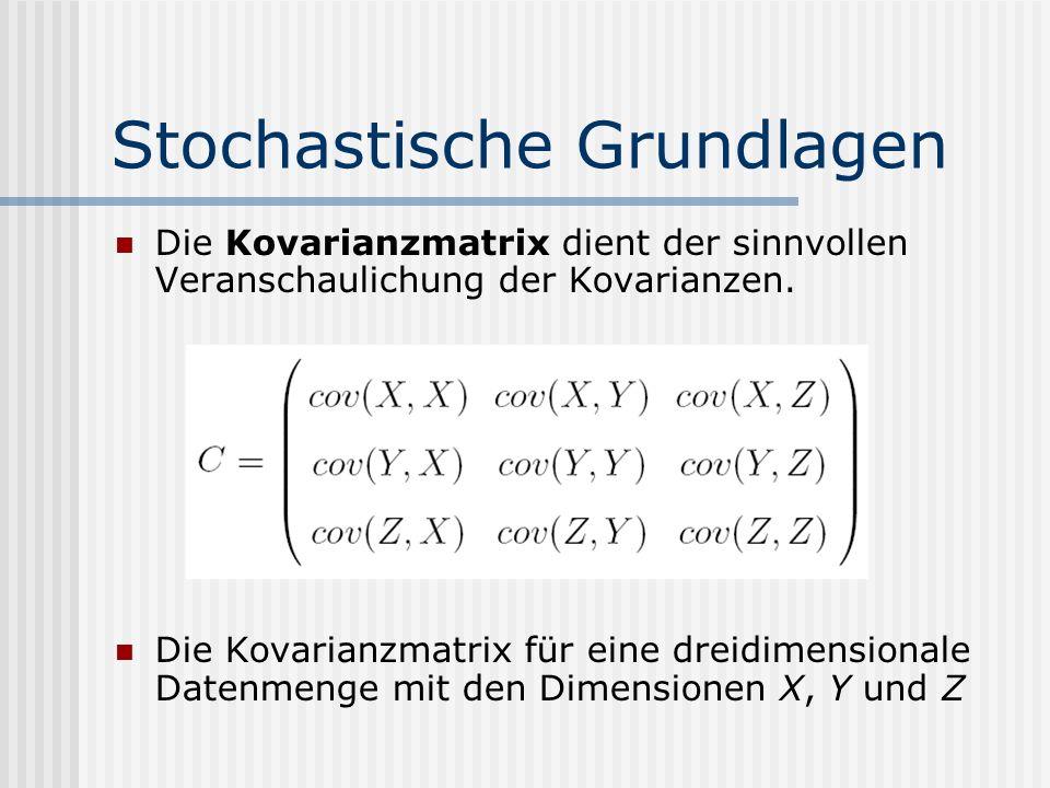 Stochastische Grundlagen Die Kovarianzmatrix dient der sinnvollen Veranschaulichung der Kovarianzen. Die Kovarianzmatrix für eine dreidimensionale Dat
