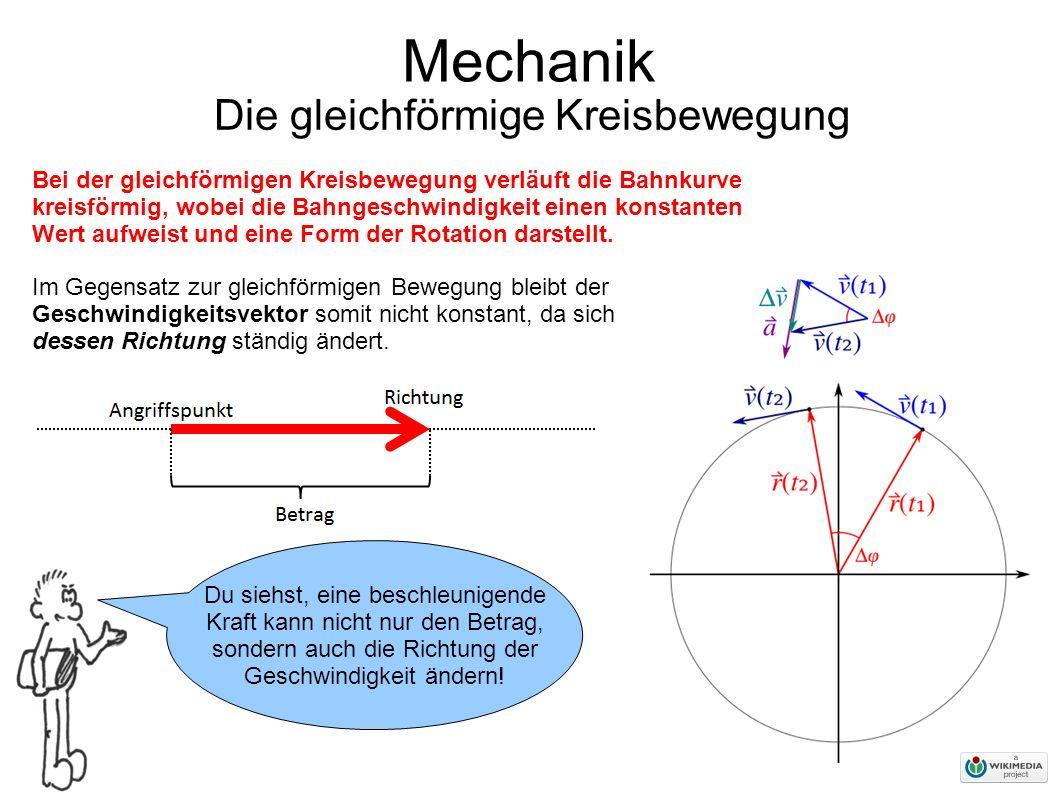Mechanik Die gleichförmige Kreisbewegung Du siehst, eine beschleunigende Kraft kann nicht nur den Betrag, sondern auch die Richtung der Geschwindigkeit ändern.
