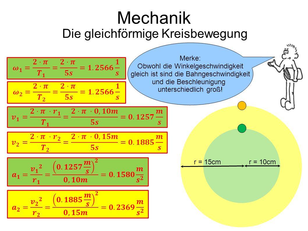Mechanik Die gleichförmige Kreisbewegung Eine kleine Übung! r = 10cmr = 15cm Merke: Obwohl die Winkelgeschwindigkeit gleich ist sind die Bahngeschwind