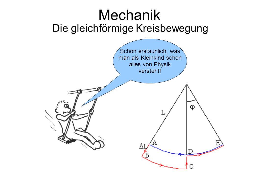 Mechanik Die gleichförmige Kreisbewegung Schon erstaunlich, was man als Kleinkind schon alles von Physik versteht!
