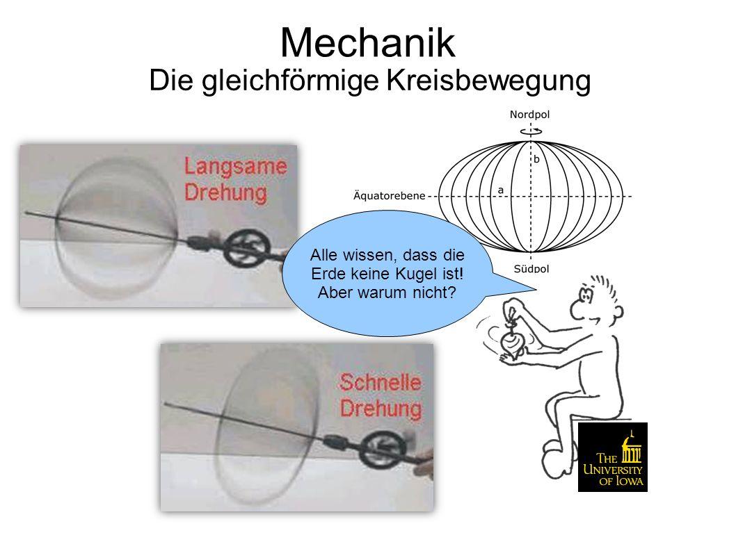 Mechanik Die gleichförmige Kreisbewegung Damit sind wir mit der Kinematik durch.