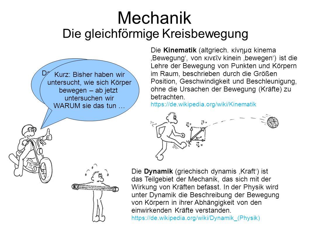 Mechanik Die gleichförmige Kreisbewegung Damit sind wir mit der Kinematik durch. Weiter geht es mit der Dynamik! Die Kinematik (altgriech. κίνημα kine