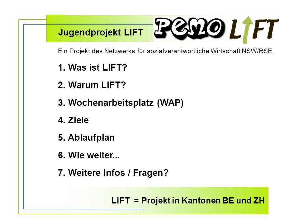 1. Was ist LIFT. 2. Warum LIFT. 3. Wochenarbeitsplatz (WAP) 4.