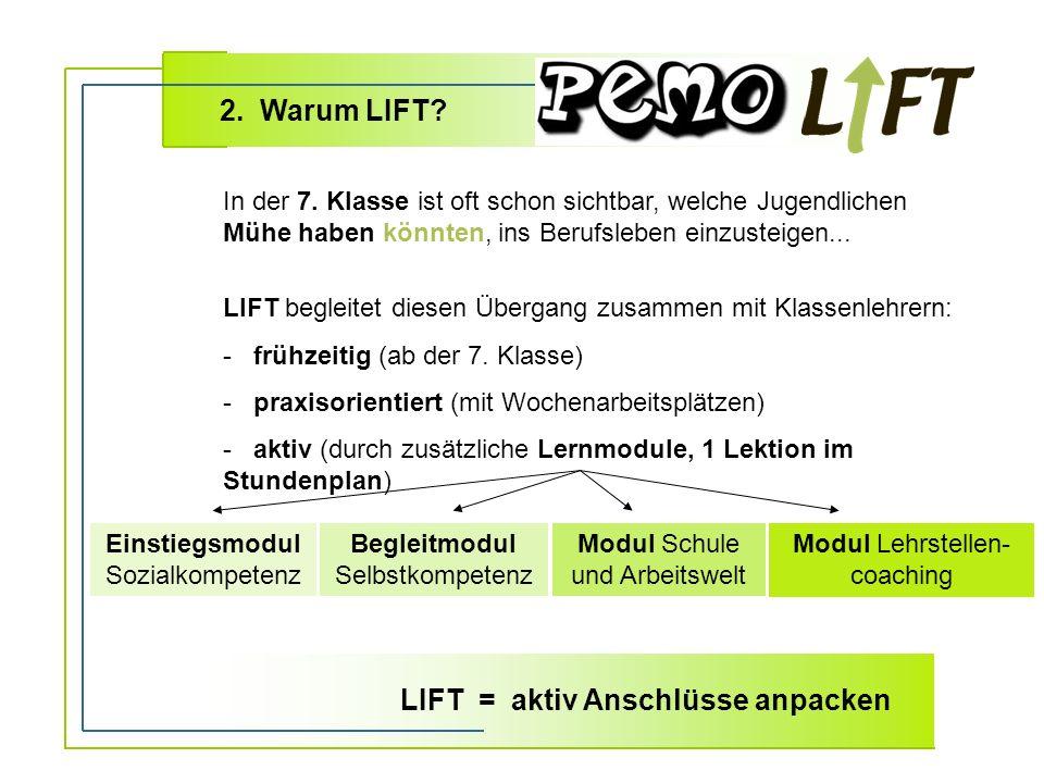 2. Warum LIFT. LIFT begleitet diesen Übergang zusammen mit Klassenlehrern: - frühzeitig (ab der 7.