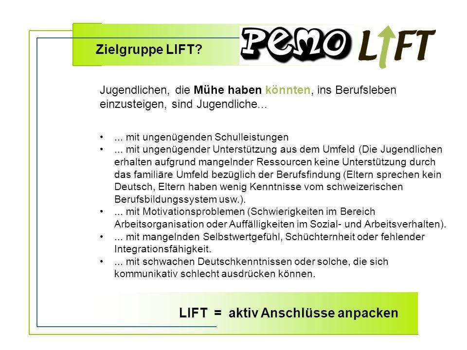Zielgruppe LIFT ... mit ungenügenden Schulleistungen...