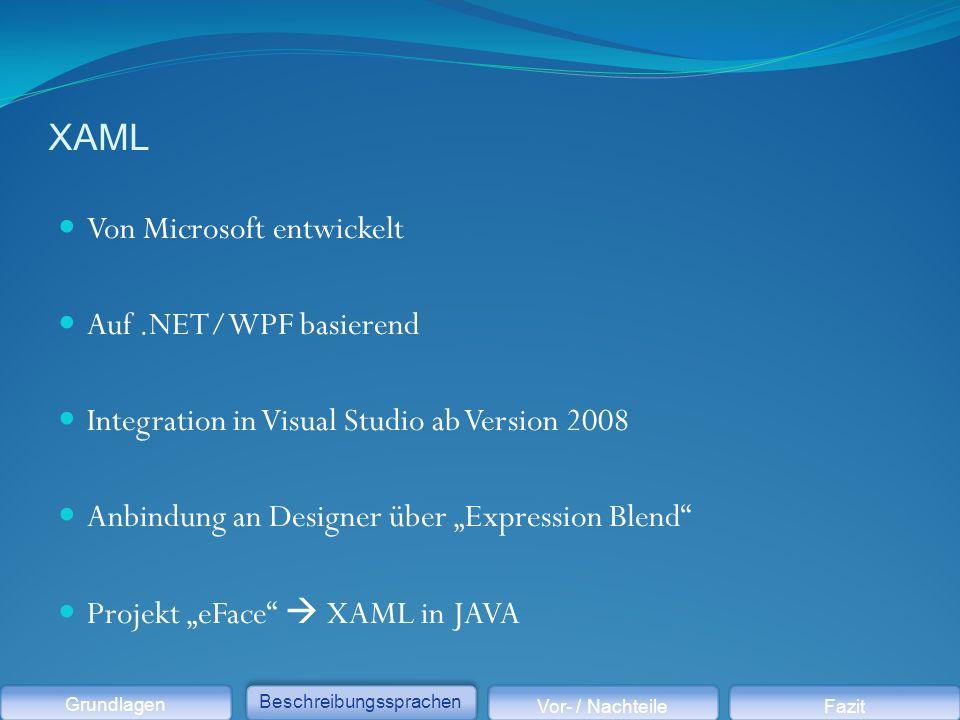 """XAML Von Microsoft entwickelt Auf.NET/WPF basierend Integration in Visual Studio ab Version 2008 Anbindung an Designer über """"Expression Blend Projekt """"eFace  XAML in JAVA Grundlagen Beschreibungssprachen Vor- / NachteileFazit"""