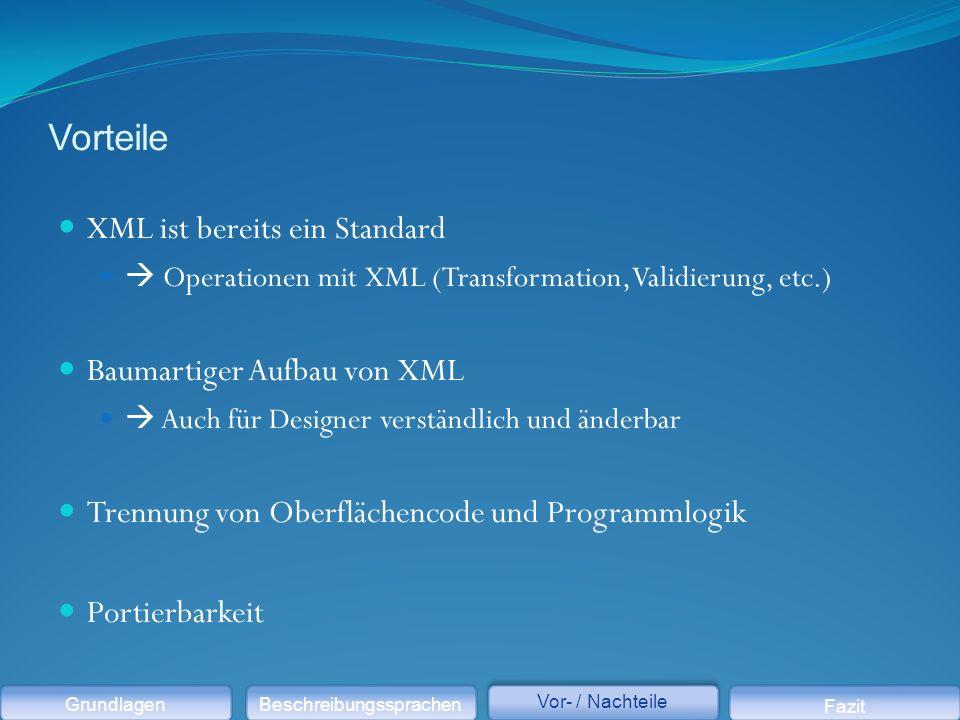 Vorteile XML ist bereits ein Standard  Operationen mit XML (Transformation, Validierung, etc.) Baumartiger Aufbau von XML  Auch für Designer verständlich und änderbar Trennung von Oberflächencode und Programmlogik Portierbarkeit GrundlagenBeschreibungssprachen Vor- / Nachteile Fazit